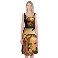 Halloween, Funny Pumpkin With Skull And Spider In The Night Midi Sleeveless Dress