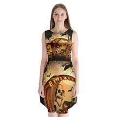 Halloween, Funny Pumpkin With Skull And Spider In The Night Sleeveless Chiffon Dress