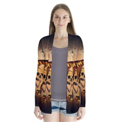 Halloween, Funny Pumpkin With Skull And Spider In The Night Drape Collar Cardigan