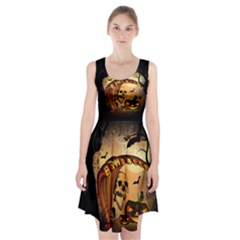 Halloween, Funny Pumpkin With Skull And Spider In The Night Racerback Midi Dress