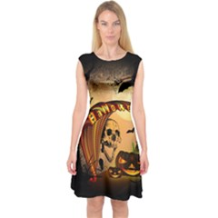 Halloween, Funny Pumpkin With Skull And Spider In The Night Capsleeve Midi Dress
