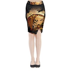 Halloween, Funny Pumpkin With Skull And Spider In The Night Midi Wrap Pencil Skirt