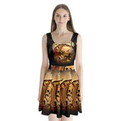 Halloween, Funny Pumpkin With Skull And Spider In The Night Split Back Mini Dress