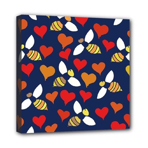 Honey Bees In Love Mini Canvas 8  X 8