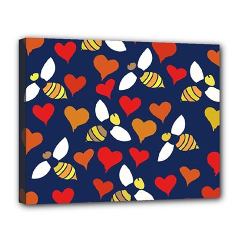 Honey Bees In Love Canvas 14  x 11