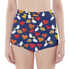 Honey Bees In Love High-Waisted Bikini Bottoms