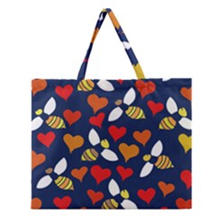 Honey Bees In Love Zipper Large Tote Bag