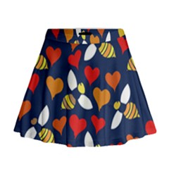 Honey Bees In Love Mini Flare Skirt