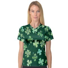 Lucky Shamrocks Women s V-Neck Sport Mesh Tee