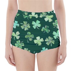 Lucky Shamrocks High-Waisted Bikini Bottoms