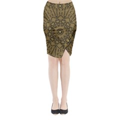 Doodelidei Hearts Of Gold Midi Wrap Pencil Skirt