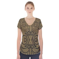 Doodelide Ornate Decorative Swirls Elegant Short Sleeve Front Detail Top