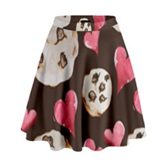 Chocolate Chip Cookies High Waist Skirt