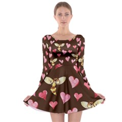 Honey Bee Love Bees Long Sleeve Skater Dress