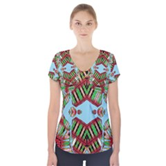 OCEAN LOVE Short Sleeve Front Detail Top