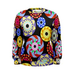 Colorful Retro Circular Pattern Women s Sweatshirt