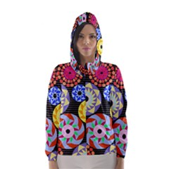 Colorful Retro Circular Pattern Hooded Wind Breaker (women)