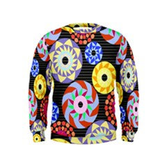 Colorful Retro Circular Pattern Kids  Sweatshirt