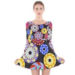 Colorful Retro Circular Pattern Long Sleeve Velvet Skater Dress
