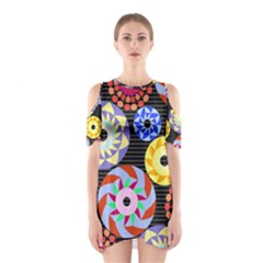 Colorful Retro Circular Pattern Women s Cutout Shoulder One Piece
