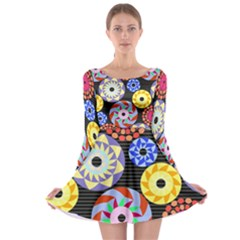 Colorful Retro Circular Pattern Long Sleeve Skater Dress