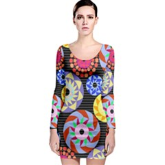 Colorful Retro Circular Pattern Long Sleeve Bodycon Dress