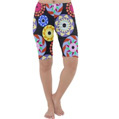 Colorful Retro Circular Pattern Cropped Leggings