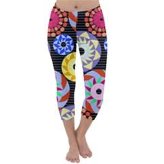 Colorful Retro Circular Pattern Capri Winter Leggings