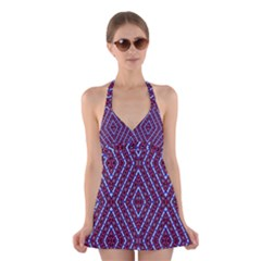 Water Damage Halter Swimsuit Dress