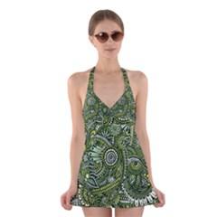 Green Boho Flower Pattern Zz0105  Halter Swimsuit Dress
