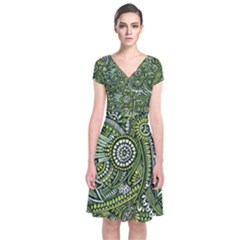 Green Boho Flower Pattern Zz0105  Short Sleeve Front Wrap Dress