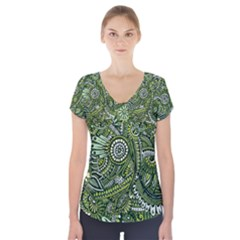 Green Boho Flower Pattern Zz0105  Short Sleeve Front Detail Top
