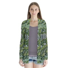 Green Boho Flower Pattern Zz0105  Drape Collar Cardigan