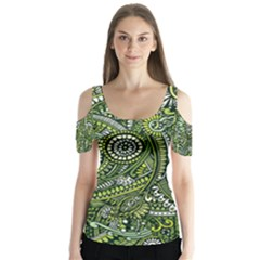 Green Boho Flower Pattern Zz0105  Butterfly Sleeve Cutout Tee