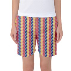 Colorful Chevron Retro Pattern Women s Basketball Shorts