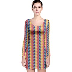 Colorful Chevron Retro Pattern Long Sleeve Velvet Bodycon Dress