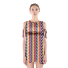 Colorful Chevron Retro Pattern Women s Cutout Shoulder One Piece