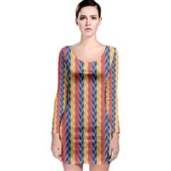 Colorful Chevron Retro Pattern Long Sleeve Bodycon Dress