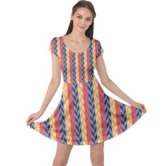 Colorful Chevron Retro Pattern Cap Sleeve Dress