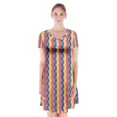 Colorful Chevron Retro Pattern Short Sleeve V-neck Flare Dress