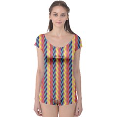 Colorful Chevron Retro Pattern Boyleg Leotard