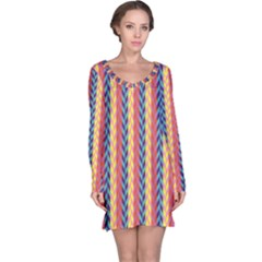 Colorful Chevron Retro Pattern Long Sleeve Nightdress