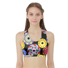Colorful Retro Circular Pattern Sports Bra With Border