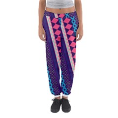 Purple And Pink Retro Geometric Pattern Women s Jogger Sweatpants
