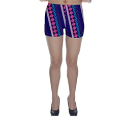Purple And Pink Retro Geometric Pattern Skinny Shorts