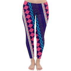 Purple And Pink Retro Geometric Pattern Winter Leggings