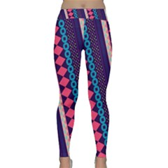 Purple and Pink Retro Geometric Pattern Yoga Leggings