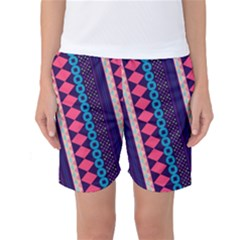 Purple and Pink Retro Geometric Pattern Women s Basketball Shorts