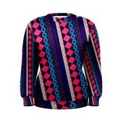 Purple and Pink Retro Geometric Pattern Women s Sweatshirt