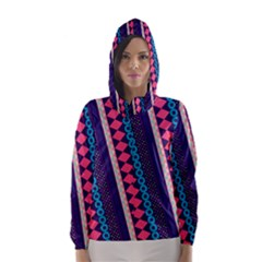 Purple and Pink Retro Geometric Pattern Hooded Wind Breaker (Women)